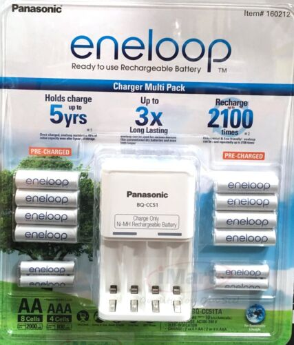 New Eneloop Rechargeable Batteries NiMH 8 AA 4 AAA + Battery Charger Recharge