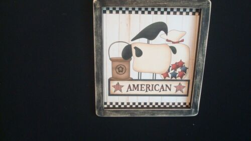 """Primitive Print **AMERICAN with Crow and Sheep** black frame 9 1/2"""" x 10 1/2"""""""