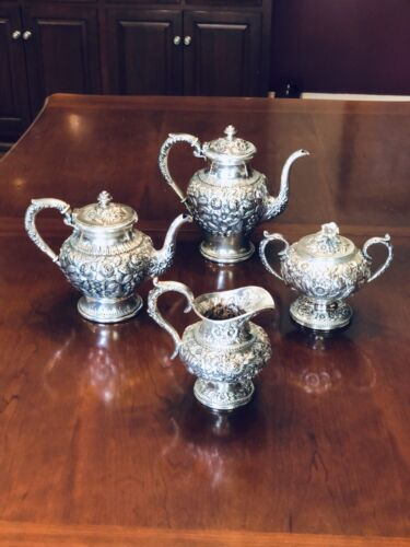 Sterling Silver Tea Service by S.Kirk & Son in Repousse Pattern