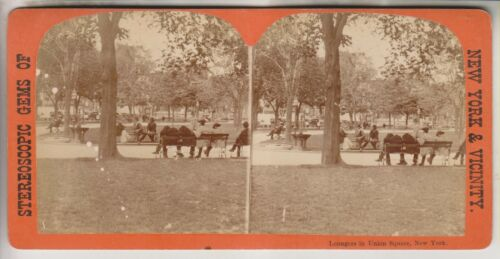 VINTAGE STEREOVIEW - LOUNGERS IN UNION SQUARE - NEW YORK CITY