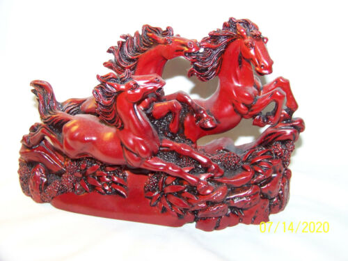 "HAND CARVED CHINESE RED STONE 3 HORSES 5 1/4"" HIGH 7 3/4"" LONG 2 1/8"" WIDE"