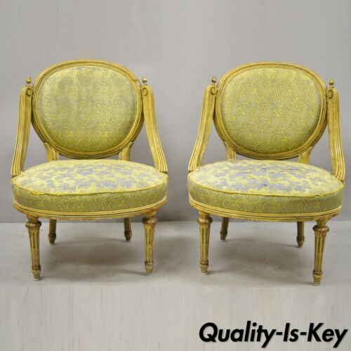 Pair of Vintage French Louis XVI Style Low Petite Boudoir Small Hiprest Chairs