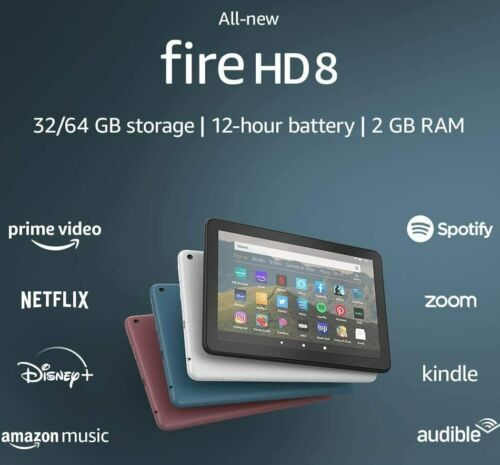 "2020 AMAZON FIRE HD 8 WiFi TABLET 8"" 32Gb 10th Gen - BLACK WHITE BLUE PLUM hd8"