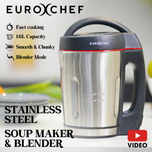 EUROCHEF Stainless Steel Soup Maker Hot Cold Electric Blender <br/> Easy to Clean! Fast Cooking. 1.3L Capacity. 1 YR Wty