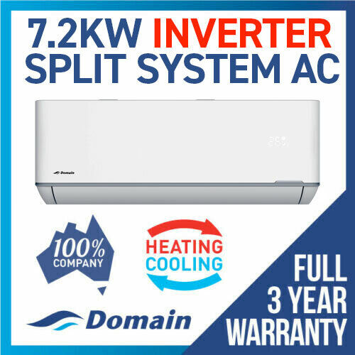 NEW DOMAIN PREMIUM 7.1KW INVERTER REVERSE CYCLE SPLIT SYSTEM AIR CONDITIONER AC <br/> FULL 3 YEAR WARRANTY - 100% AUSTRALIAN OWNED COMPANY