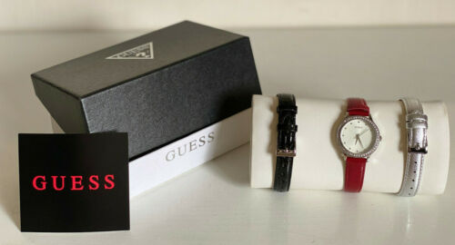 NEW! GUESS INTERCHANGEABLE 3-BANDS BLACK SILVER RED LEATHER BRACELET WATCH $185