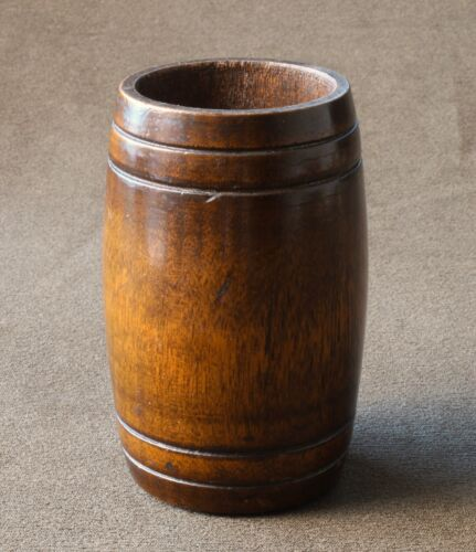 19th C Oak Treen Spill vase