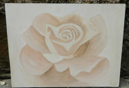 VINTAGE  1980s White Rose Painting Wall Art height 60 cm