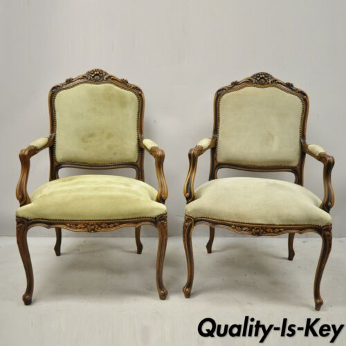 Pair Vintage French Provincial Louis XV Style Italian Arm Chairs by Chateau D'ax