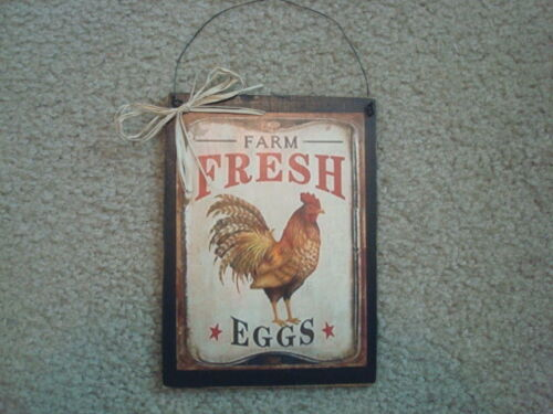 "Primitive Print on PLAQUE ~FARM FRESH EGGS with CHICKEN~ 6"" x 7 3/4"""