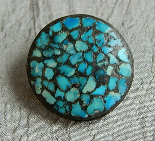 "Antique Vintage Button w/ Turqoiuse Inlays ~Aprx:7/8""~#924-F"
