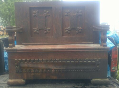 Antique Hall Bench With Storage Compartment Gothic Style