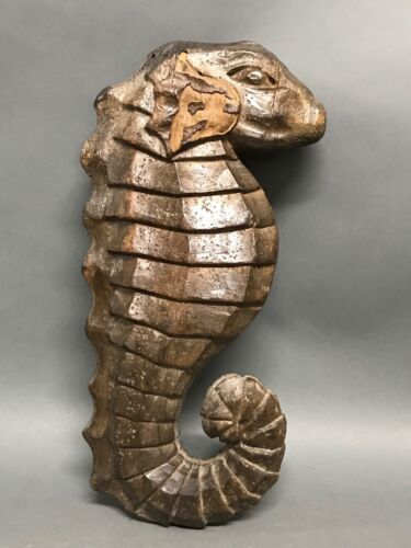 HANDCARVED WOOD SEAHORSE PAPERMACHE MOLD/SCULPTURE