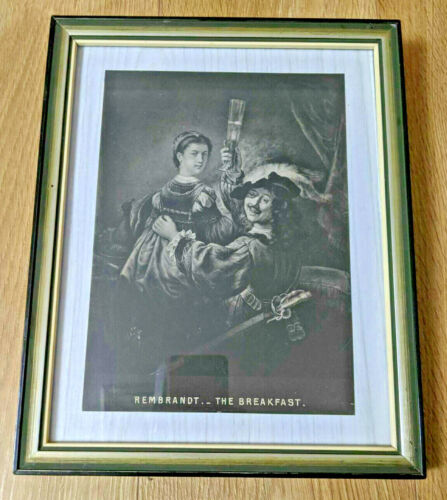 Late c19th Collotype Print of Rembrandt's 'Self-portrait with Saskia' RARE