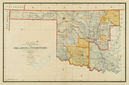 Map of Oklahoma Territory c1894 36x24