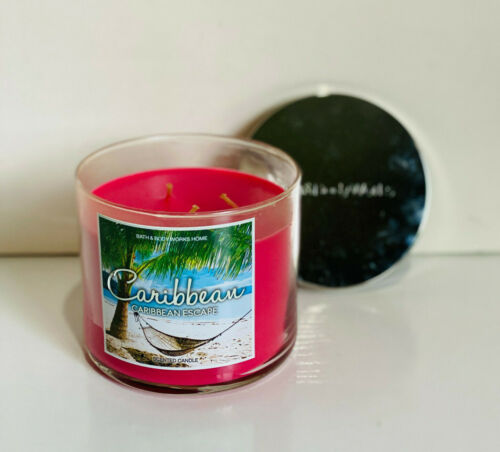 NEW! BATH & BODY WORKS 3-WICK SCENTED CANDLE - CARIBBEAN ESCAPE - SALE