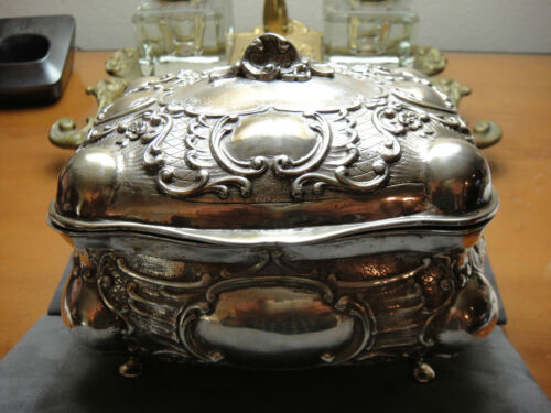 ANTIQUE ADOLF MAYER 800 SILVER DRESSER BOX JUGENDSTIL PERIOD 1850-1899 GERMANY
