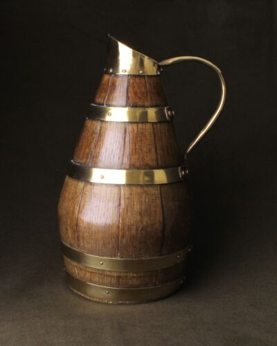 Georgian Coopered Oak and Brass Scrumpy Jug -Larger Size