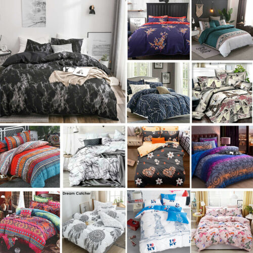 2020 New Soft Doona Duvet Quilt Cover Set Single Double Queen King Size Bed <br/> 30 Designs ✓ 5 Sizes ✓