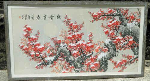 Vintage Red Blossoms Moon Japanese Art Painting Signed by Artist 102 cm x 183 cm