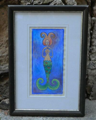 VINTAGE Butterfly Awakening Mermaid Goddess hand Coloured Lino Block Print