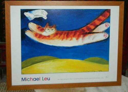 Michael Leu An Optimistic Cat + California Landscape Artexpo Cal Framed Pop Art
