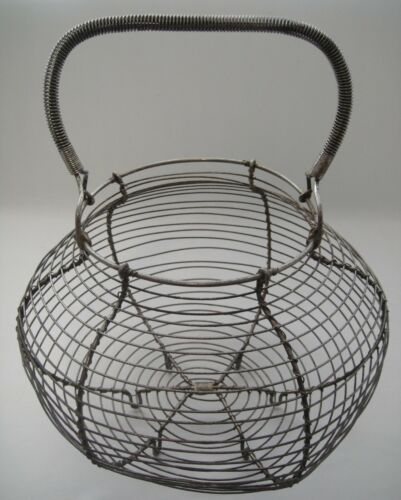 "Vintage French Country Wire Egg Gathering Footed Basket +Coiled Bail Handle 11""T"