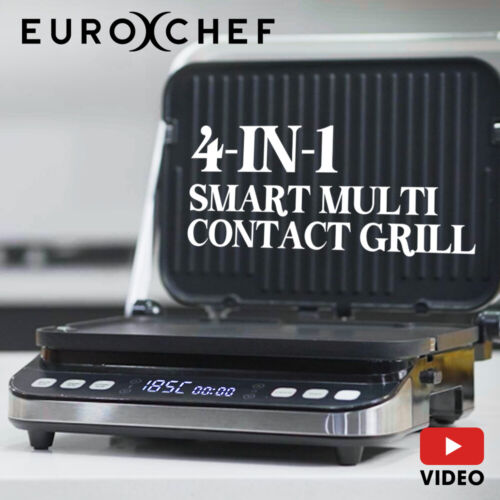 EUROCHEF Smart Multi Contact Grill Sandwich Panini Press Maker Fast Cafe Style <br/> Flat or Ribbed Grilling PLUS Waffle making plates!