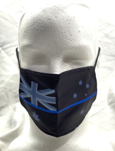 Face Mask, Thin Blue Line, Police, Black Dust Mask, 2 x Layers, Washable, #12