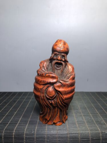 collection  China  natural  Bamboo root  Hand carving  Birthday star  statue