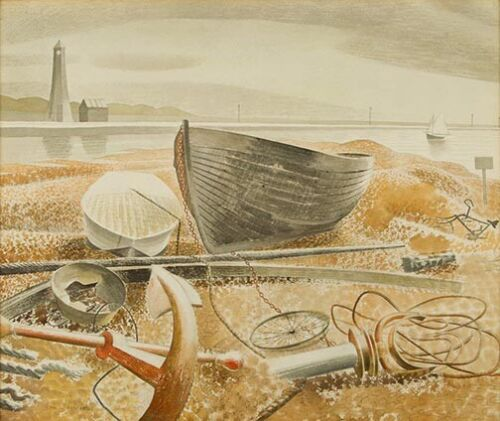 Anchor and Boats : Eric Ravilious : 1938 : Archival Quality Art Print