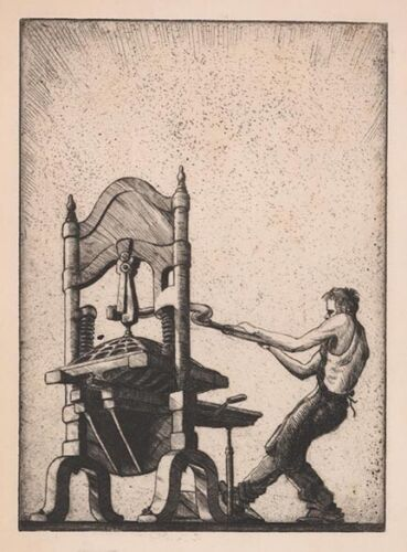 Charles Ernest Pont : Etching [Etching Press] 1933 : Archival Quality Art Print