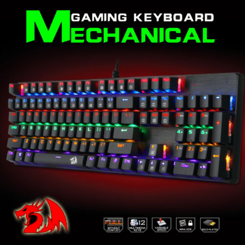 REDRAGON K208 Gaming Mechanical Wired Splash-proof Water Keyboard 104 Keys AU
