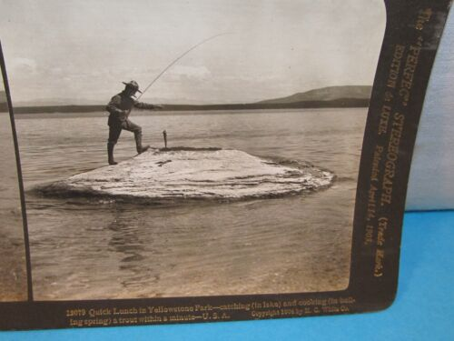 Fisherman Catching & Cooking Trout in Lake YELLOWSTONE Park Stereoview Card 1903