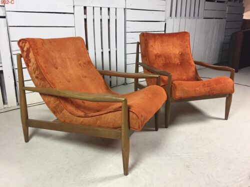 Vintage Adrian Pearsall Craft Associates 932-C Sling Lounge Chairs Excellent!