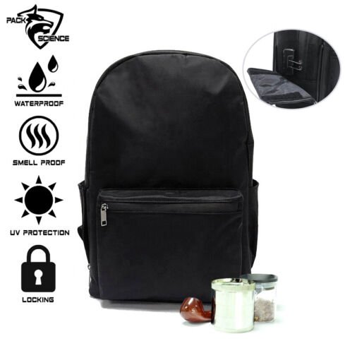 Pack Science Smell Proof Carbon Lined Backpack Locking Odor Less Stash Bag Xl