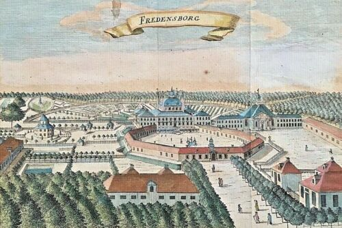 ORIGINAL- FREDENSBORG PALACE, DENMARK HAND COLORED PERSPECTIVE MAP 1700's