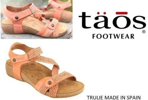 Taos Footwear Trulie Leather comfort wedge Sandals Taos shoes Spain Cantaloupe