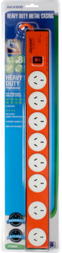 8 Way Outlet Power Board with Heavy Duty Metal Housing Surge Master Switch