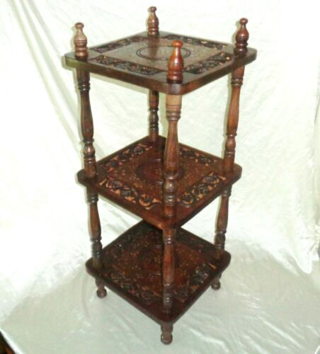 Brass Inlay 3 Tier Wood Plant Stand End Table Signed Hand Made in India