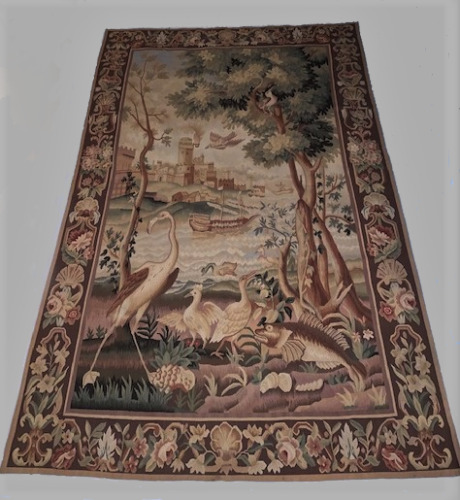 """French Aubusson Verdure Tapestry wool 19th Century 82""""x53"""" Hand Knotted"""