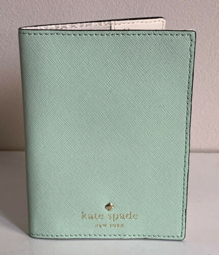 NEW! KATE SPADE NEW YORK MIKAS POND MINT GREEN MOJITO PASSPORT HOLDER $68 SALE
