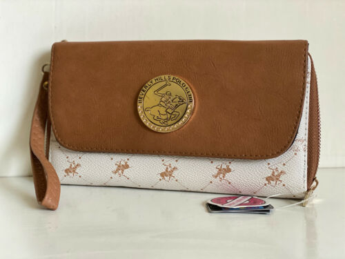 BEVERLY HILLS POLO CLUB BROWN BEIGE CONVERTIBLE WRISTLET WALLET CLUTCH BAG SALE