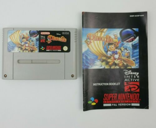 Pinocchio | Super Nintendo SNES Cartridge & Manual | Tested and Working | Disney