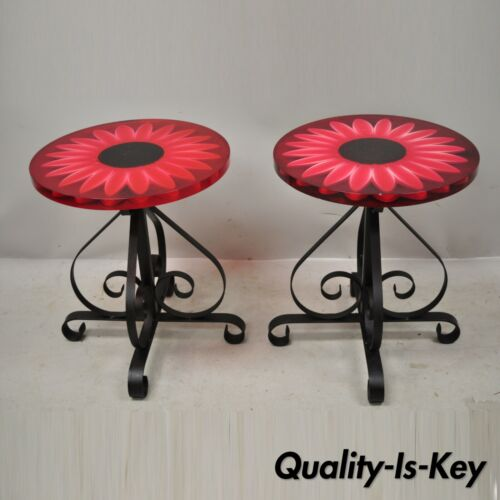Vintage Wondermold Gamma Associates Red Resin Sun Flower Iron Side Tables - Pair
