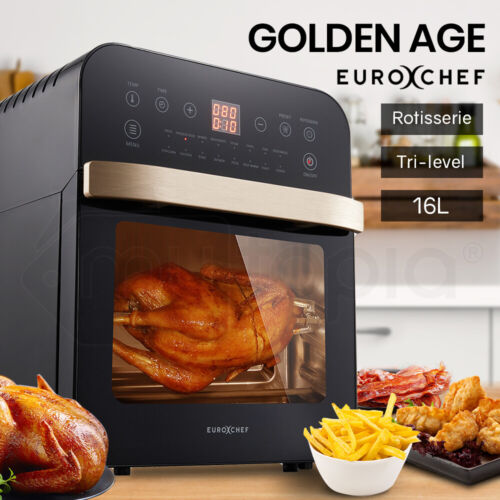 EUROCHEF 16L Air Fryer Electric Digital Airfryer Rotisserie Dry Large Big Cooker <br/> Large Powerful model with 16 Preset Modes and 3 Trays