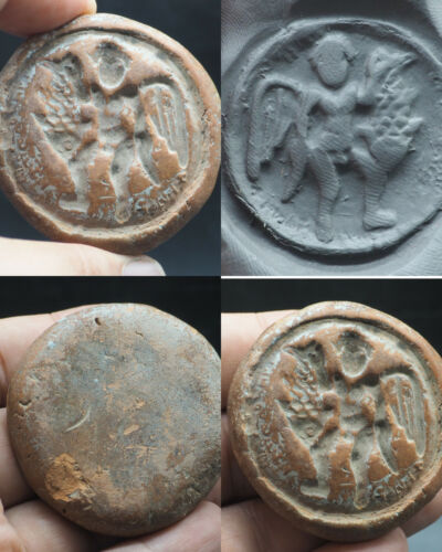 Very Rare Ancient Roman Era Wonderful Angel Holding Fish Terracotta Seal #A438