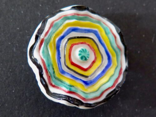 NBS LG Vintage Glass Button - Hand Painted Circles, Ruffled Shape
