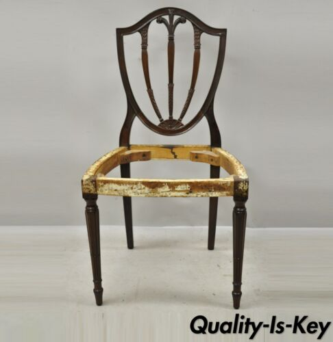 Antique Hepplewhite Carved Mahogany Plume Prince of Wales Dining Side Chair