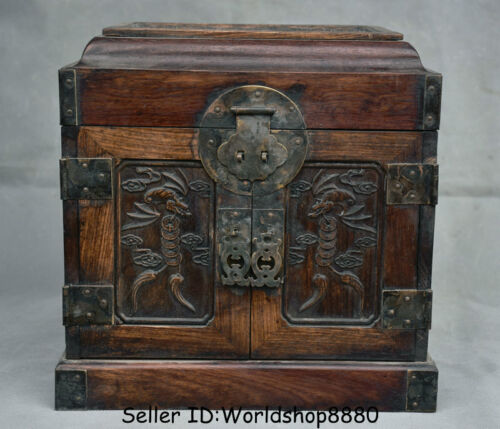 """10"""" Antique Chinese Huanghuali Wood Dynasty Palace Bat Drawer Chest Jewelry Box"""